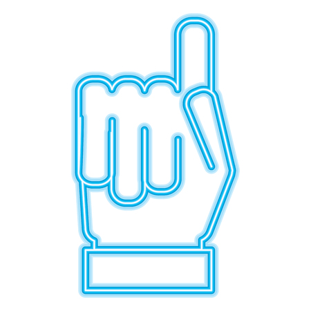 hand gesture with a raised index finger vector illustration neon blue design Ilustrace