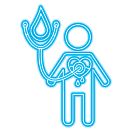 man stethoscope heart blood medical hemophilia vector illustration neon blue design
