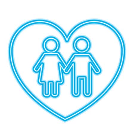 couple holds hand inside heart medical concept vector illustration neon blue design