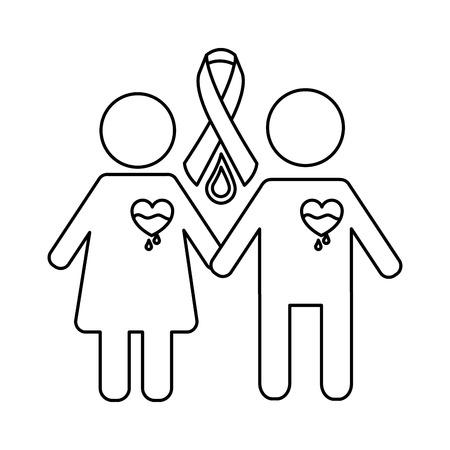 couple hemophilia campaign ribbon blood vector illustration Illustration