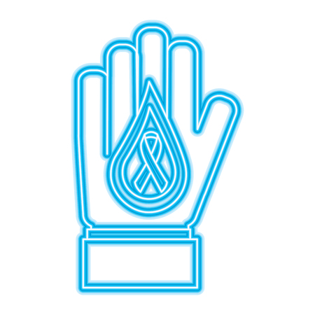hand with drop blood and ribbon medical vector illustration neon blue design