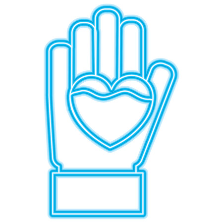 hand heart blood hemophilia support care symbol vector illustration neon blue design