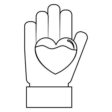 hand heart blood hemophilia support care symbol vector illustration
