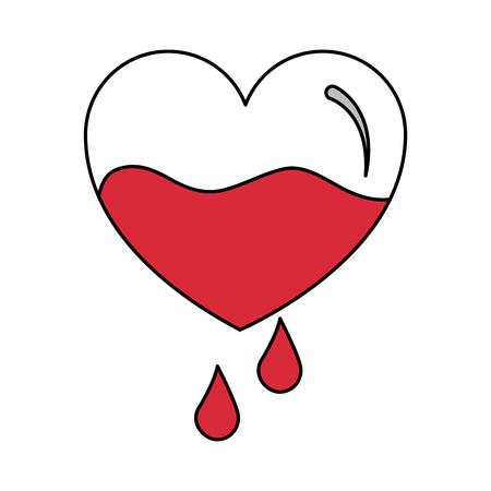 赤い心臓の血液滴落下予防ケアベクターイラスト