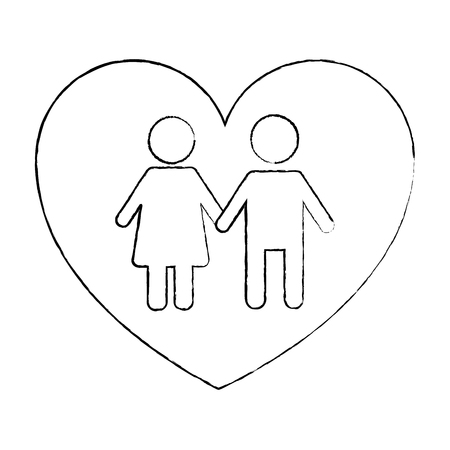 couple holds hand inside heart medical concept vector illustration