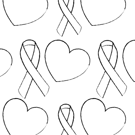 seamless pattern hearts ribbon medical care vector illustration