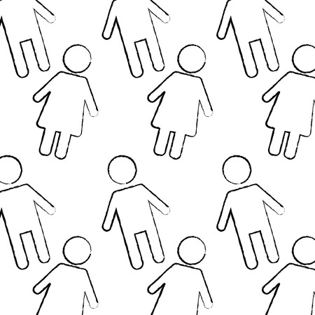 seamless pattern female and man characters vector illustration