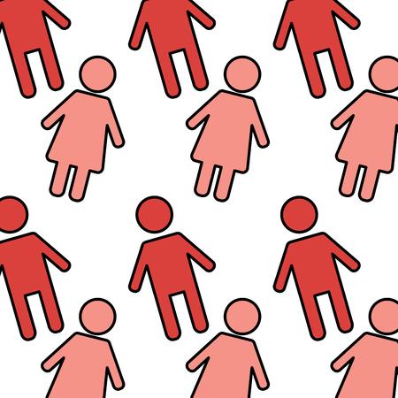 シームレスなパターン赤い女性と男のキャラクターベクトルイラスト  イラスト・ベクター素材