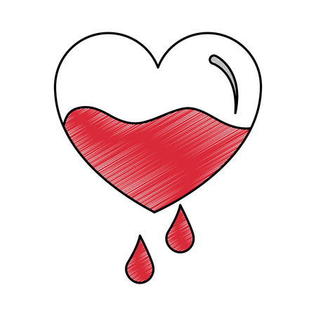 red heart blood drops falling prevention care vector illustration drawing design 向量圖像