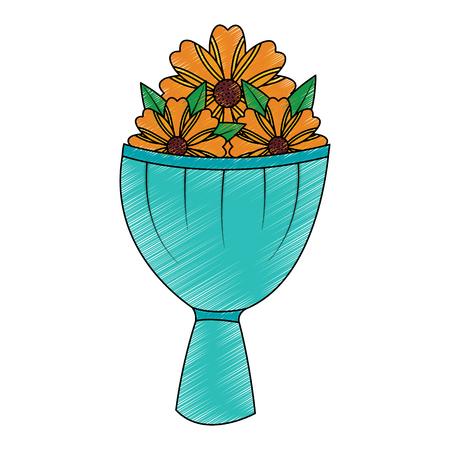 bouquet flower decoration ornament romantic vector illustration Illustration