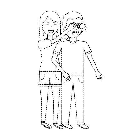 Woman covering her boyfriends eyes surprise valentines day romance dotted line design Ilustração