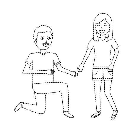 man on his knee proposal in front of woman vector illustration dotted line design