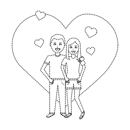 valentines day poster with man and woman tenderly hugging vector illustration dotted line design Illustration