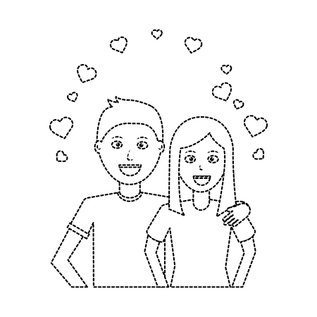 Valentines day poster with man and woman hugging hearts love vector illustration dotted line design Illustration