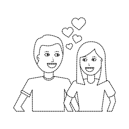 happy couple embraced together relationship hearts love vector illustration dotted line design
