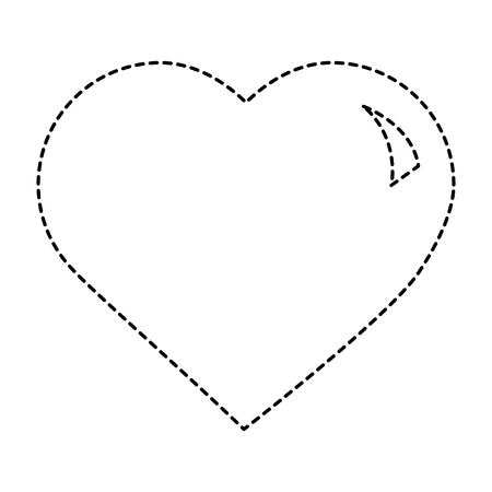 cute big heart love passion feeling vector illustration dotted line design