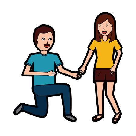 man on his knee proposal in front of woman vector illustration Illustration