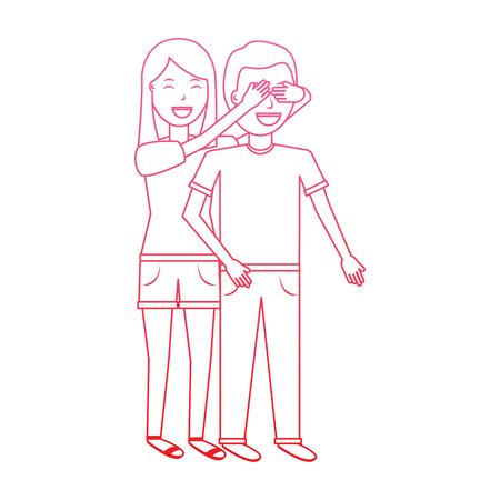彼女のボーイフレンドの目をカバーする女性は、バレンタインデーのロマンスはラインデザインを劣化させる驚き