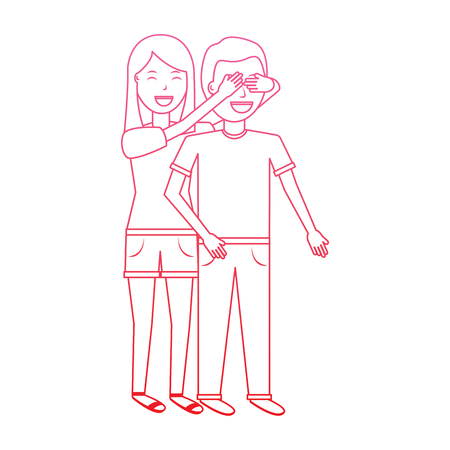 woman covering her boyfriends eyes surprise valentines day romance degrade line design Illustration