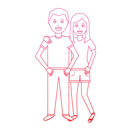 valentines day poster with man and woman tenderly hugging vector illustration degrade line design Vettoriali