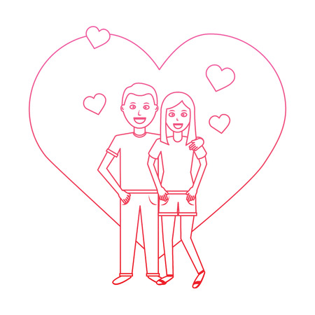 valentines day poster with man and woman tenderly hugging vector illustration degrade line design Illustration