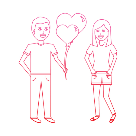 young man giving hearts shape balloons valentines day vector illustration degrade line design Illustration