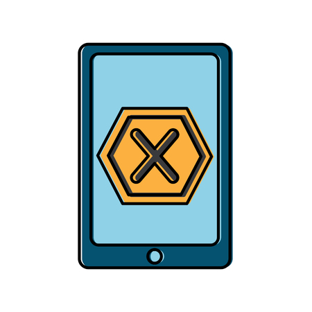 smartphone data error hazard sign vector illustration Çizim