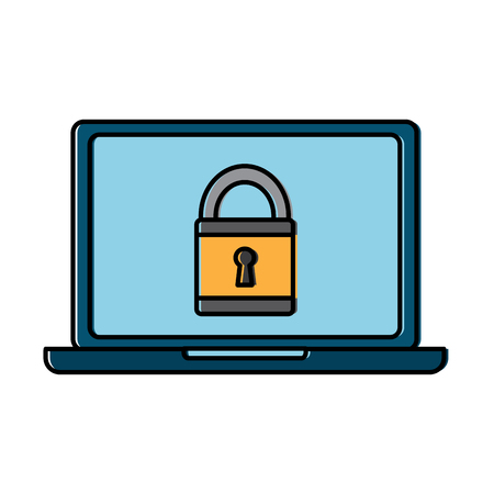 laptop computer security padlock technology cyber vector illustration