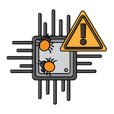 motherboard warning bug virus data hazard vector illustration