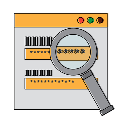 authentication login code password security search vector illustration