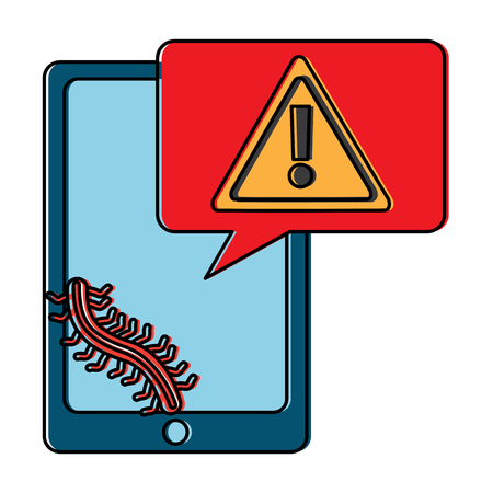 mobile phone and worm virus message alert vector illustration Illustration