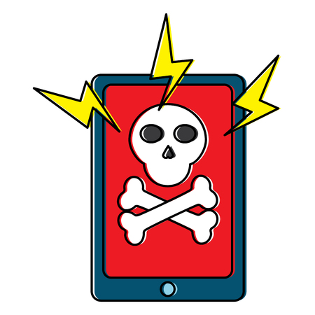 mobile phone and skull bones hazard technology vector illustration