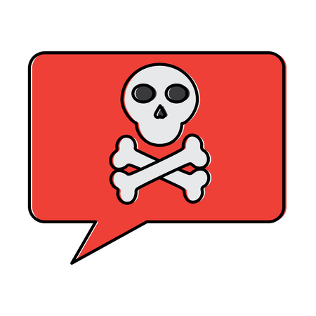 skull bones in speech bubble data hacker vector illustration