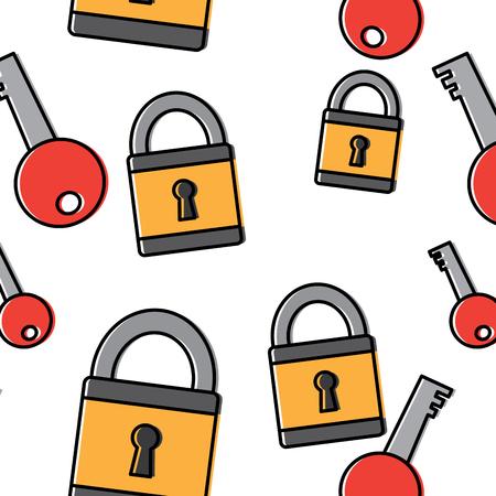 technology padlock key security pattern image vector illustration