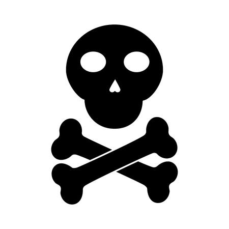 skull cross bones danger alert image vector illustration pictogram design Imagens - 96672901