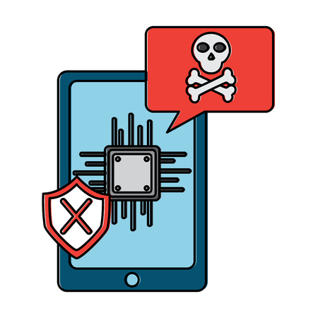 smartphone motherboard notification virus error vector illustration
