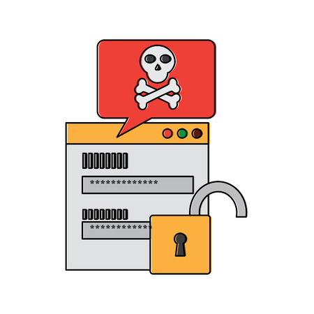 page login code message danger security unlock vector illustration