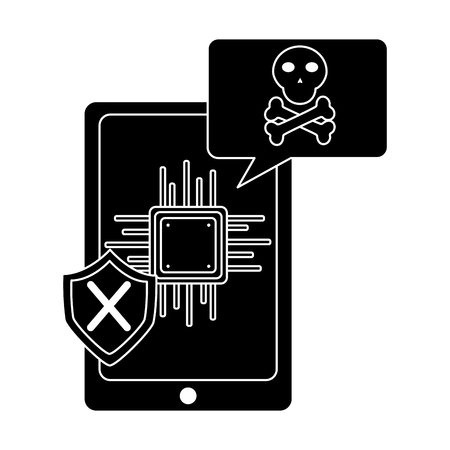 smartphone motherboard notification virus error vector illustration pictogram design