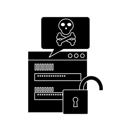 page login code message danger security unlock vector illustration pictogram design