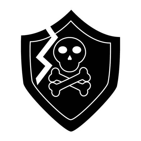 Broken shield protection security data digital vector illustration pictogram design Illustration