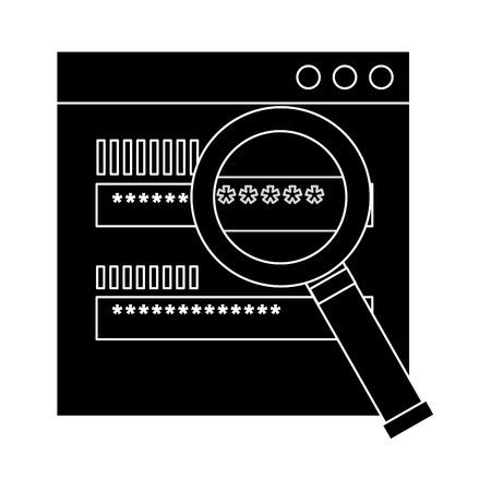 authentication login code password security search vector illustration pictogram design