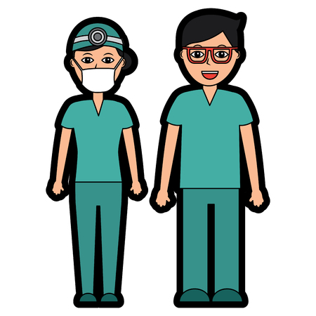 Professionals couple of doctor-hospital staff vector illustration