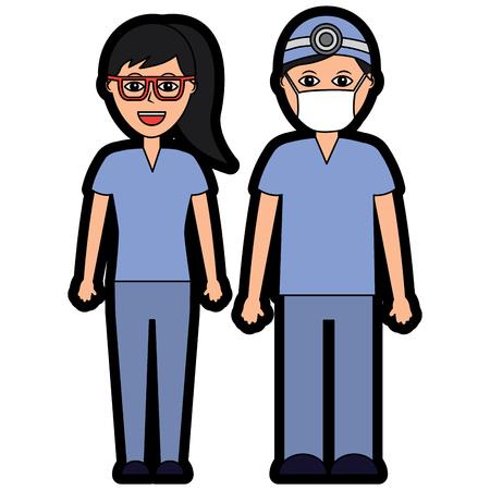 医師病院スタッフベクトルイラストの専門家カップル 写真素材 - 97364284