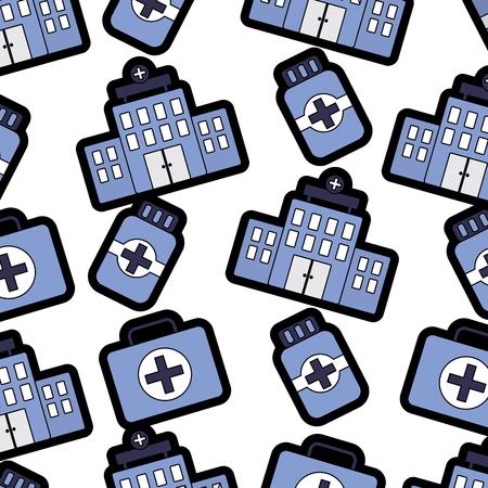 Hospital building bottle medicine kit first aid pattern vector illustration