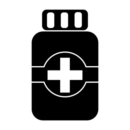 Medical bottle medicine pharmacy symbol vector illustration Çizim
