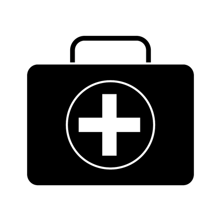 First aid kit medical emergency equipment vector illustration