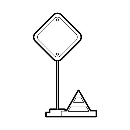 Traffic signal with cone vector illustration design