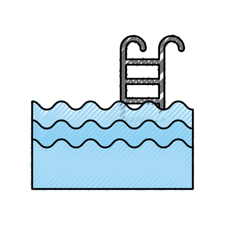 Pool with stairs icon vector illustration design Illustration