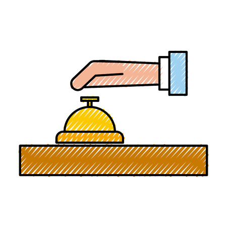 A hand with bell isolated icon vector illustration design