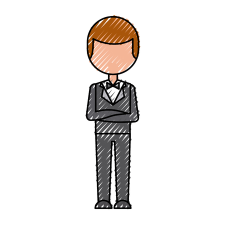 elegant man with bowntie vector illustration design